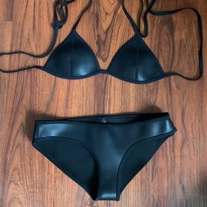 Triangl Black Triangle Bikini Leather Wet Set